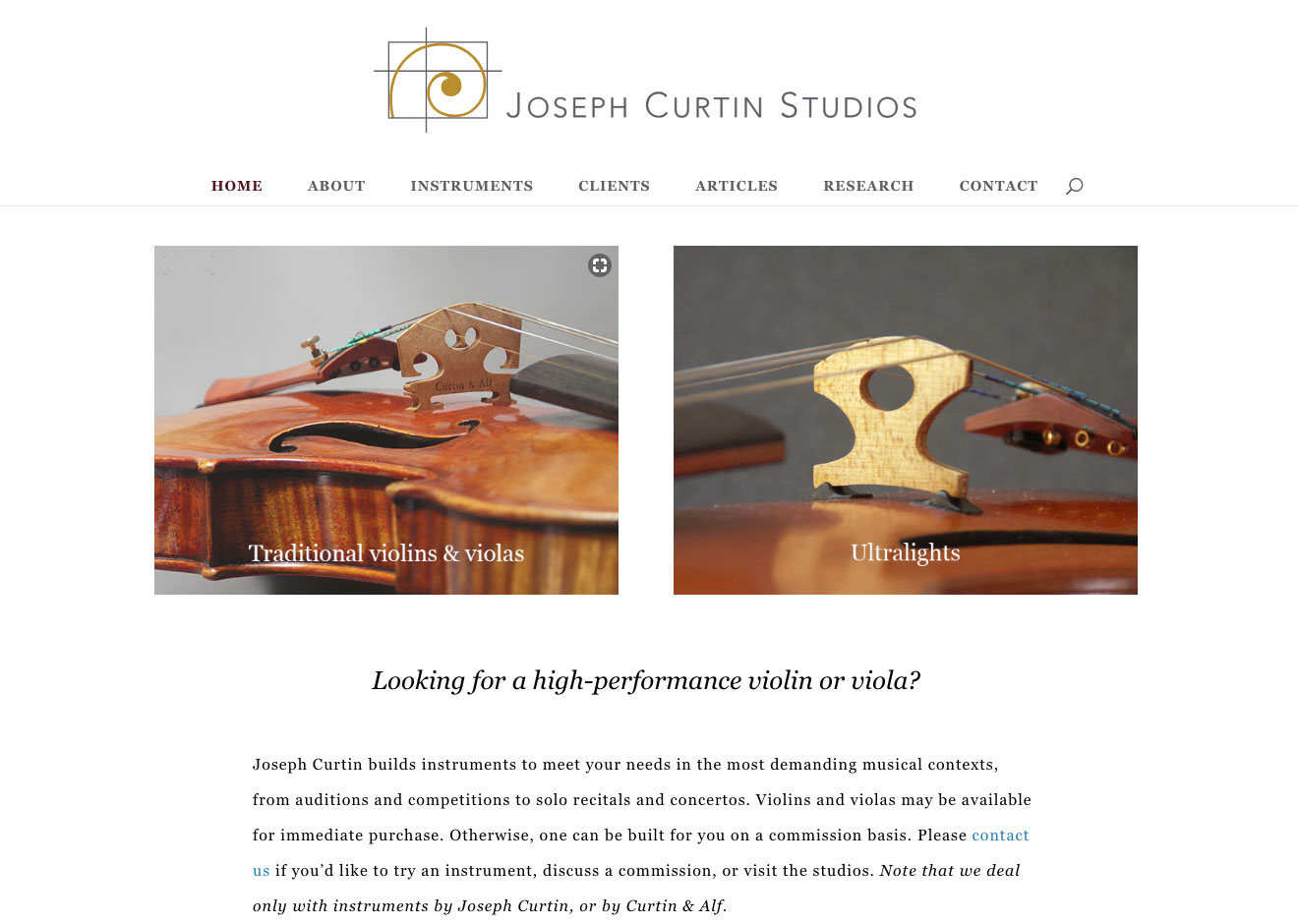 Screenshot of Joseph Curtin Studios home page