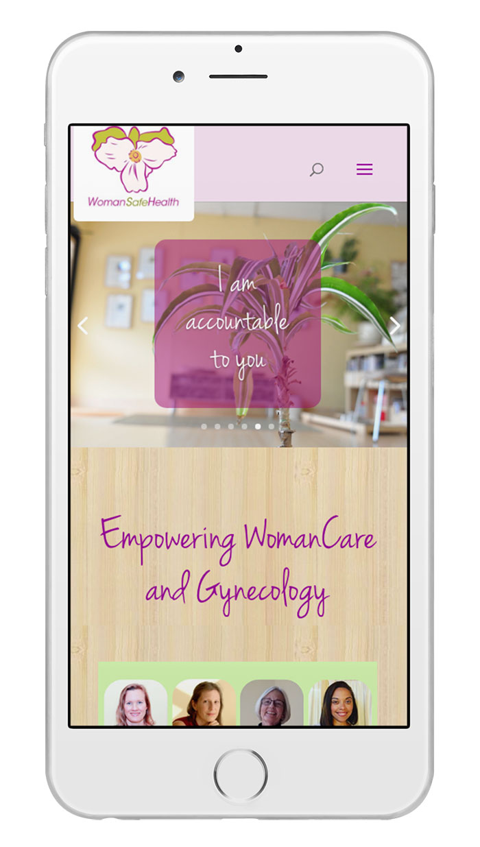 WomanSafeHealth site on an iPhone