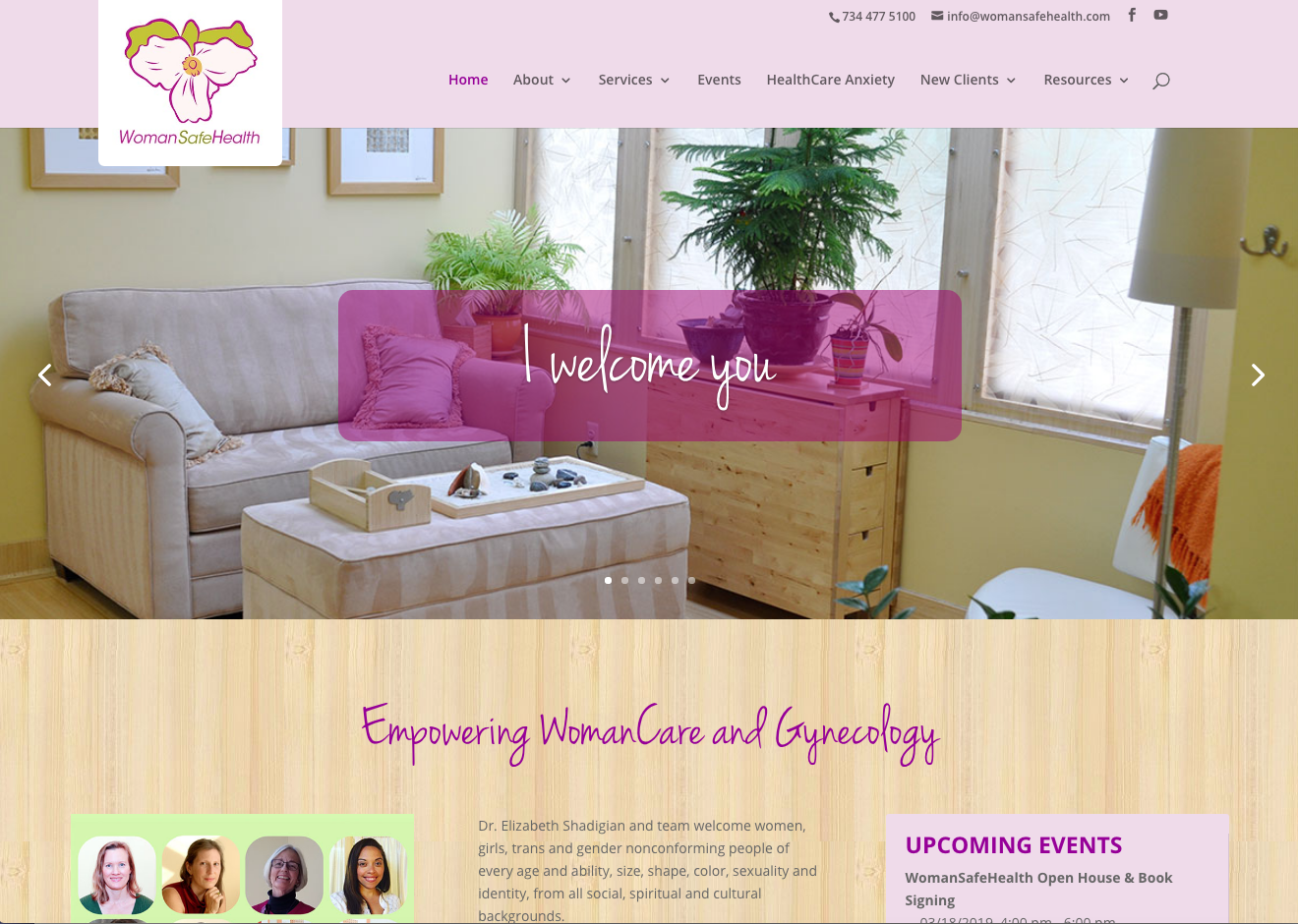 Screenshot of WomanSafeHealth home page