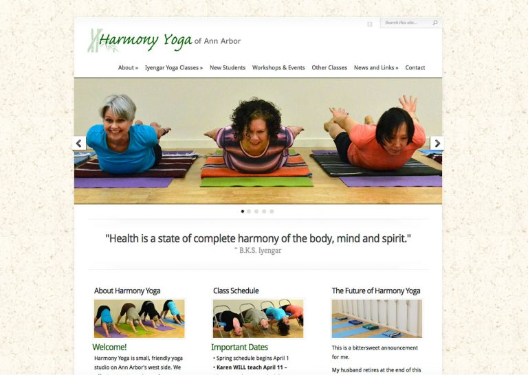 Screenshot of Harmony Yoga website home page