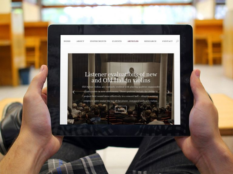 Joseph Curtin Studios website displayed on an iPad