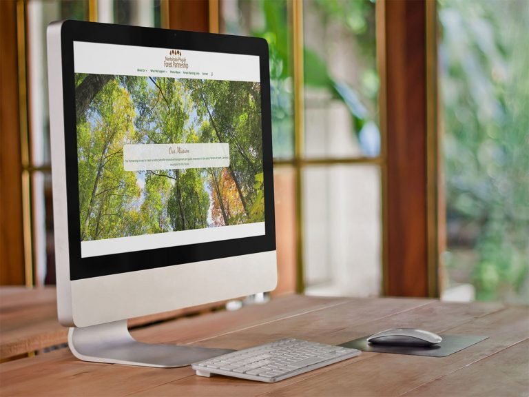 Nantahala Pisgah Forest Partnership home page on an iMac