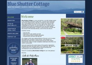 Screenshot of Blue Shutter Cottage website home page