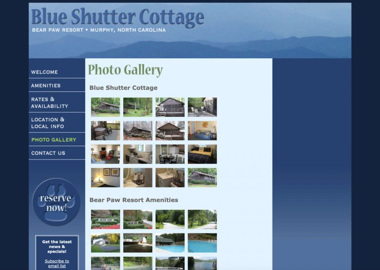 Screenshot of Photo Galleries page on Blue Shutter Cottage website