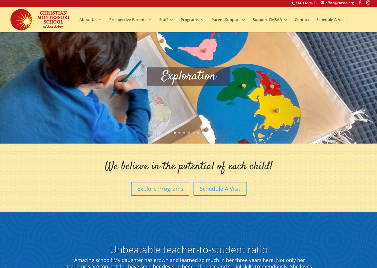 Screenshot of Christian Montessori School of Ann Arbor home page