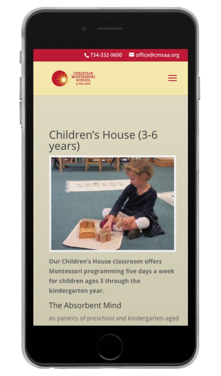 Christian Montessori School of Ann Arbor Children's House page shown on iPhone