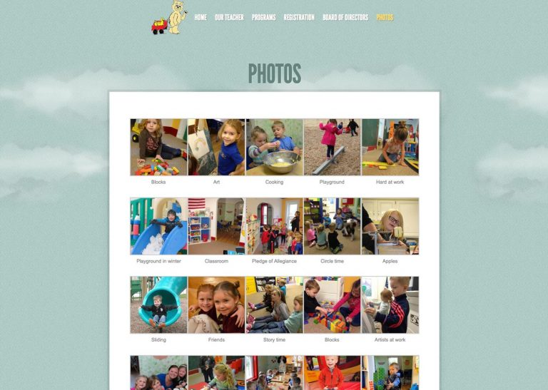 Screenshot of Photo Gallery page on Grass Lake Cooperative Preschool website