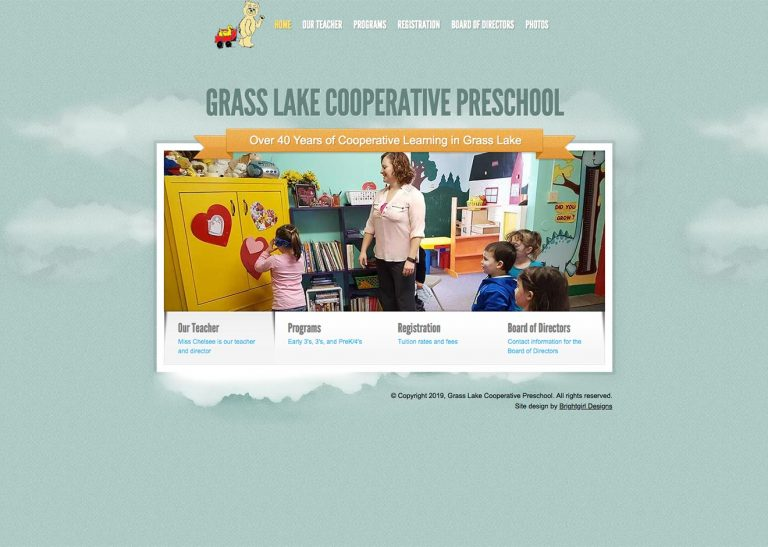 Screenshot of Grass Lake Cooperative Preschool website home page