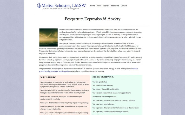 Screenshot of Postpartum Depression page on Melisa Schuster website