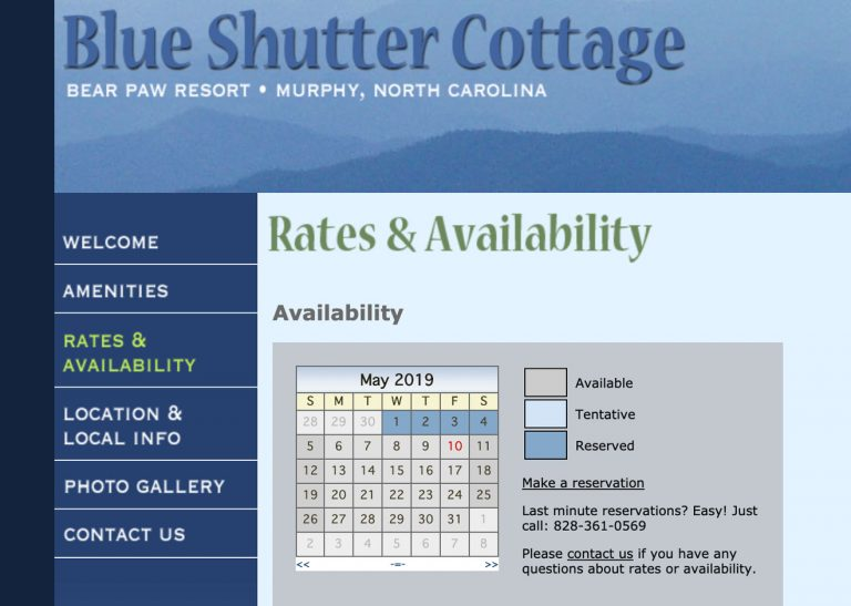 Closeup screenshot of availability calendar on Blue Shutter Cottage website