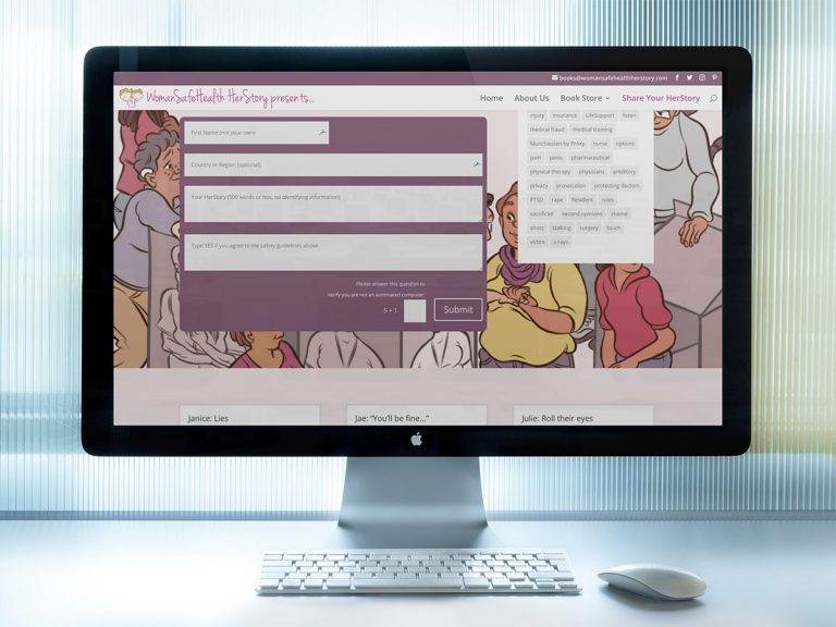 Share Your HerStory page on WomanSafeHealth Herstory website shown on an iMac