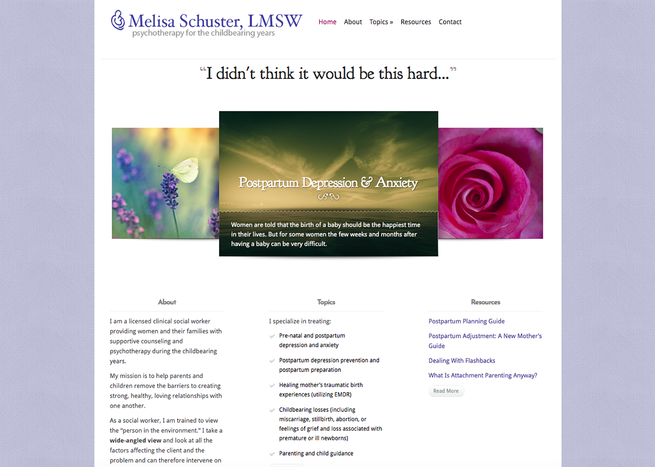 Screenshot of Melisa Schuster home page